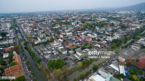 Aerial view of the Old City during Thai New Year celebrations or Songkran at the moat which surrounds the old city in Chiang Mai Possibly the biggest...