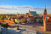 Aerial view of the old city in Warsaw. HDR - high dynamic range
