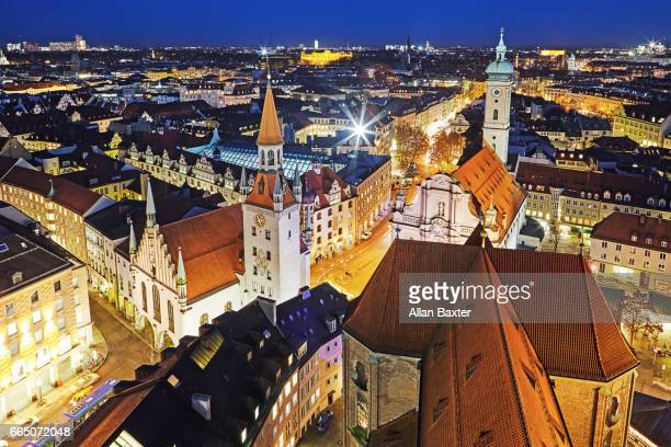 Aerial view of the old city of Munich at night