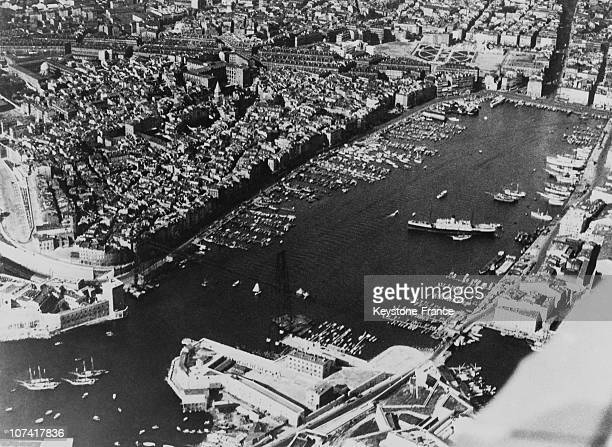 Aerial View Of The Old Port Of Marseille In France On 1939