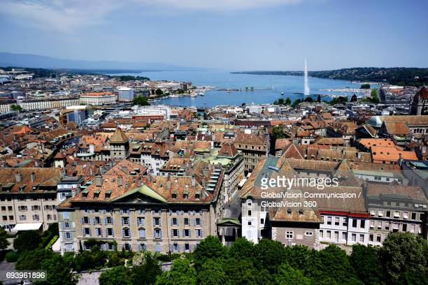 Aerial View of the Old Town of Geneva, Switzerland