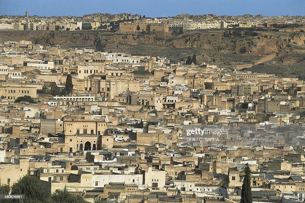 aerial view of the old walled city of fes el bali the medina of fes morocco