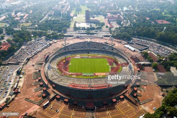 Aerial view of the Olimpico Universitario Stadium prior the 1st round match between Pumas UNAM and Pachuca as part of the Torneo Apertura 2017 Liga...