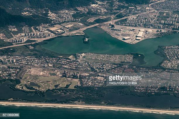 Aerial view of the Olympic Park and Athletes' Village in Rio de Janeiro Brazil on April 13 2016 The 2016 Summer Olympic Games will take place in Rio...