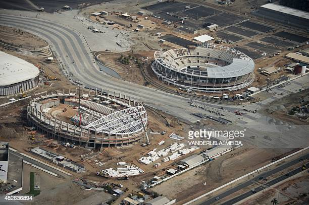 Aerial view of the Olympic Park works for the Rio 2016 Olympic Games in Rio de Janeiro Brazil on July 28 2015 AFP PHOTO / VANDERLEI ALMEIDA