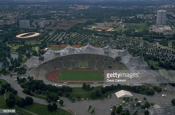 Aerial view of the Olympic Stadium during the European Championships in Munich Germany Mandatory Credit David Cannon/Allsport