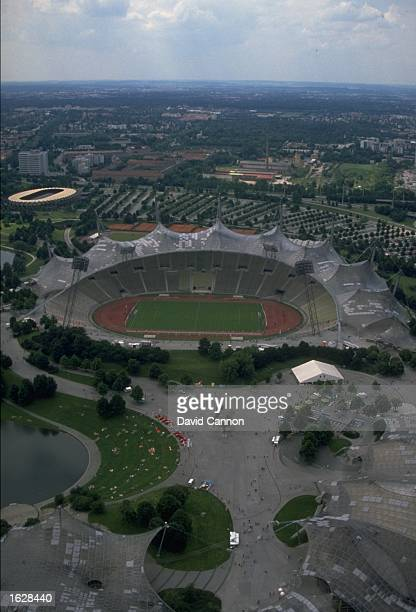 Aerial view of the Olympic Stadium during the European Championships in MunichGermany Mandatory Credit David Cannon/Allsport