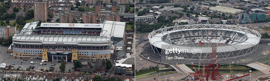 In this composite image a comparison has been made between the Boleyn Ground (L), the former home of West Ham United and London's Olympic Stadium, which is due to become the East London club's new home after they were confirmed as the venue's main tennants. Original image IDs are 119868333 (R) and 119885497. LONDON, ENGLAND - JULY 26: Aerial view of the Olympic Stadium which will host the athletics events during the London 2012 Olympic Games on July 26, 2011 in London, England.