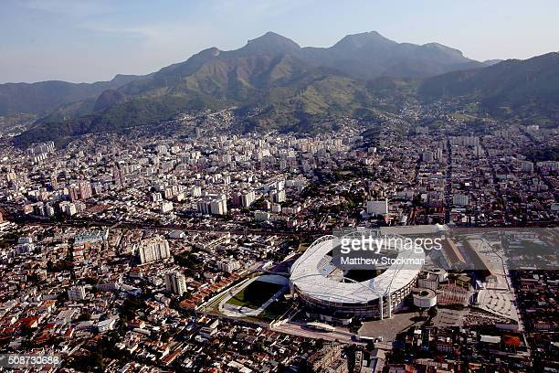 Aerial view of the Olympic Stadium with six months to go to the Rio 2016 Olympic Games on February 5 2016 in Rio de Janeiro Brazil The Olympic...