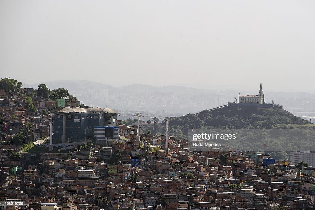 Aerial view of the Our Lady of Penha church, situated on the crest a hill next to the Alemao shantytown complex on May 10, 2013 in Rio de Janeiro, Brazil.