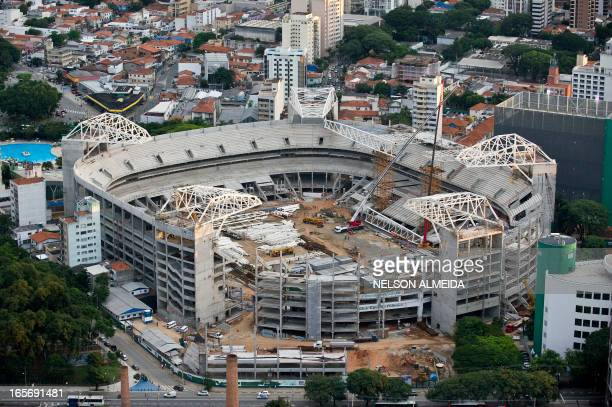 Aerial view of the Palmeiras Football Club the Arena Palestra Italia football stadium in Sao Paulo Brazil on April 4 2013 AFP PHOTO / Nelson ALMEIDA