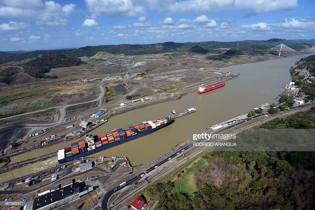 Aerial view of the Panama Canal next to Miraflores Locks in Panama City on March 23 2015 AFP PHOTO/ Rodrigo ARANGUA