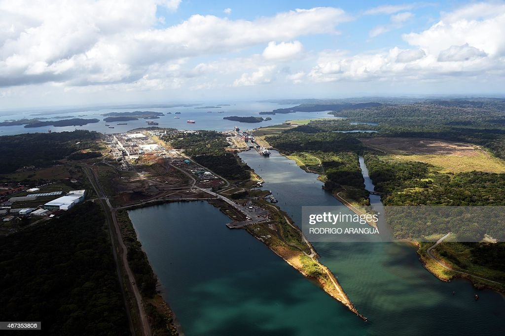 Aerial view of the Panama Canal next to the Gatun locks next to the Atlantic Ocean on March 23 2015 AFP PHOTO/ Rodrigo ARANGUA