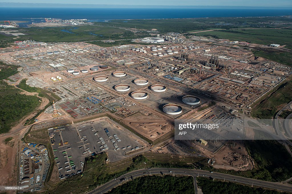 Aerial view of the Petrobras' Abreu e Lima oil refinery -- currently under construction -- in Recife, Pernambuco state, Brazil on April 15, 2013. AFP PHOTO/Yasuyoshi CHIBA