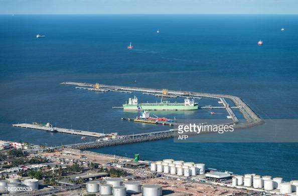 Aerial view of the Petrobras' Abreu e Lima oil refinery currently under construction in Recife Pernambuco state Brazil on April 15 2013 AFP...