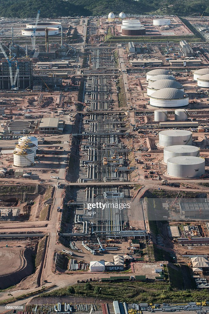 Aerial view of the Petrobras' Abreu e Lima oil refinery under construction, in Recife of Pernambuco state, Brazil on April 15, 2013. AFP PHOTO/Yasuyoshi CHIBA