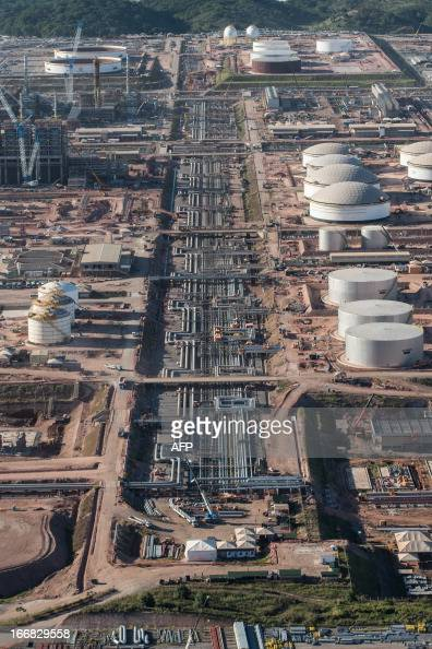 Aerial view of the Petrobras' Abreu e Lima oil refinery under construction in Recife of Pernambuco state Brazil on April 15 2013 AFP PHOTO/Yasuyoshi...