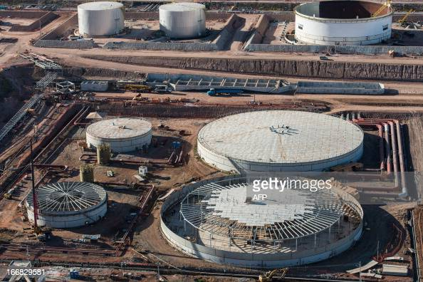 Aerial view of the Petrobras' Abreu e Lima oil refinery under construction in Recife Pernambuco state Brazil on April 15 2013 AFP PHOTO/Yasuyoshi...