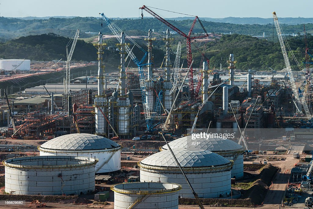 Aerial view of the Petrobras' Abreu e Lima oil refinery under construction, in Recife, Pernambuco state, Brazil on April 15, 2013. AFP PHOTO/Yasuyoshi CHIBA