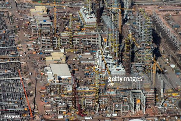 Aerial view of the Petrobras's oil refinery Abreu e Lima which is under construction in Recife Pernambuco state Brazil on April 15 2013 AFP...