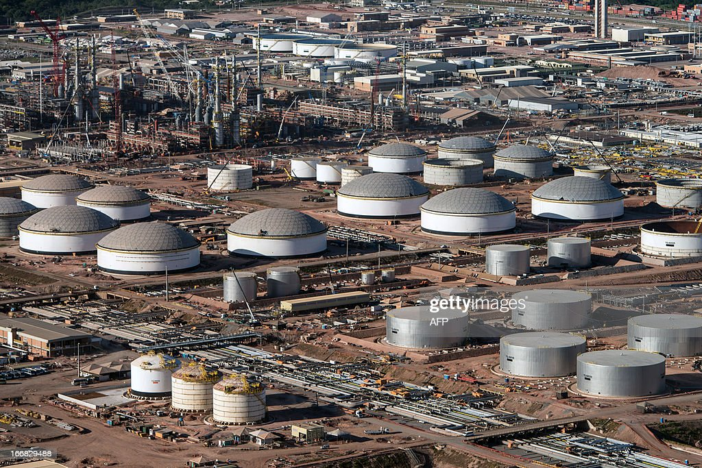 Aerial view of the Petrobras's oil refinery, Abreu e Lima, which is under construction in Recife, Pernambuco state, Brazil on April 15, 2013. AFP PHOTO/Yasuyoshi CHIBA