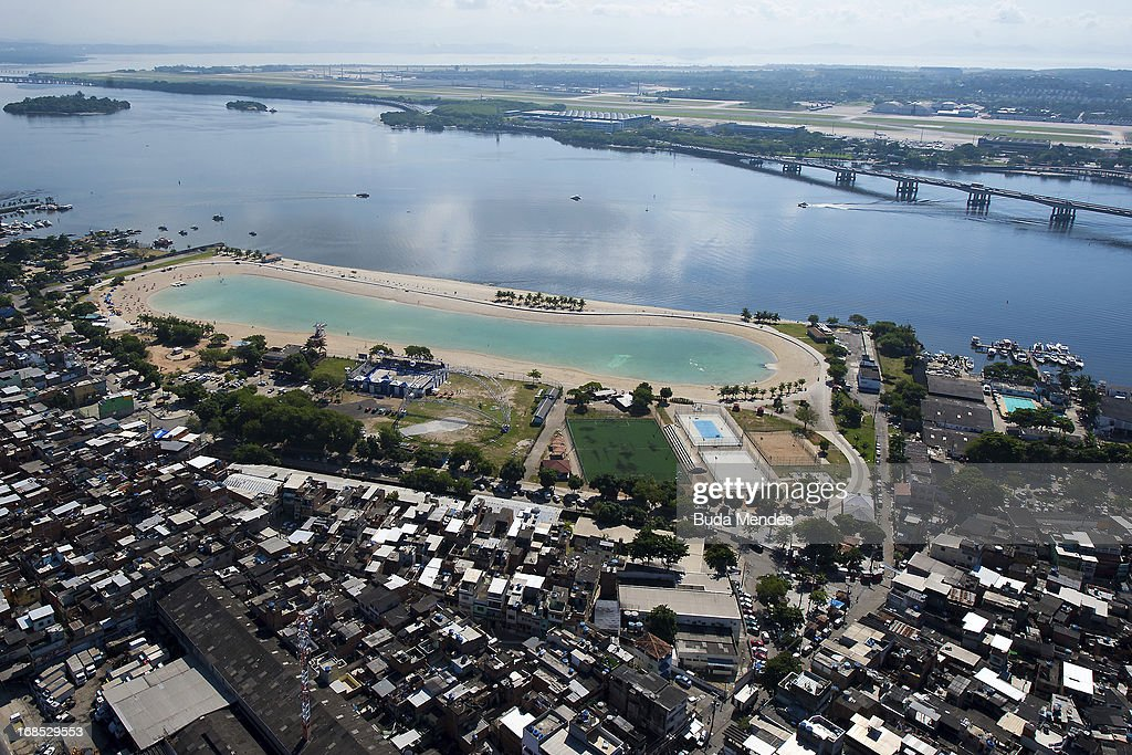 Aerial view of the 'Piscin‹o de Ramos' or Palm Beach Environmental Ramos. The Piscin‹o de Ramos is a recreational area consisting of an artificial beach associated with a public swimming pool on May 10, 2013 in Rio de Janeiro, Brazil.
