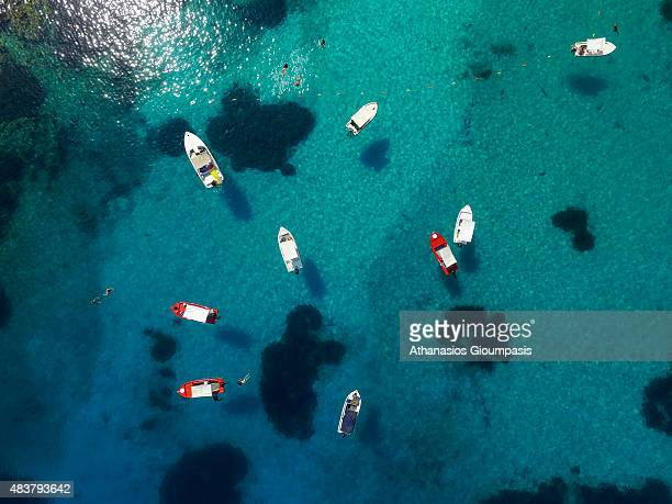 Aerial view of The Pissina beach on August 06 2015 in Syvota Greece Pissina beach located on Agios NIkolaos island with incredibly clear and calm...