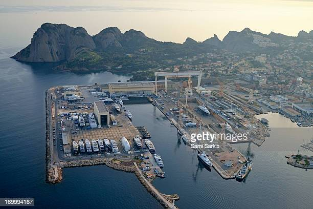 Aerial view of the port and city of La Ciotat