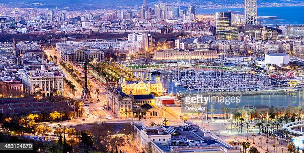 Aerial View of the Port and Downtown Barcelona Spain