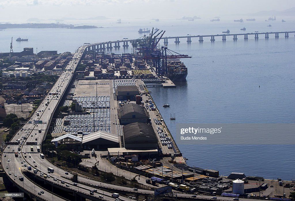 Aerial view of the Port Area and in the background the bridge President Costa e Silva, popularly known as the Rio-Niter—i Bridge on May 10, 2013 in Rio de Janeiro, Brazil. The Marvelous Port, will be the new complex of roads and tunnels that serve as an alternative to the High Perimeter begins to change the landscape of Port Region