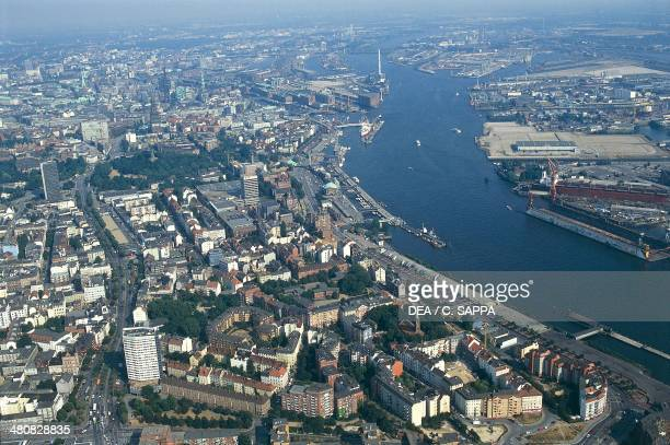 Aerial view of the port of Hamburg on river Elba Germany