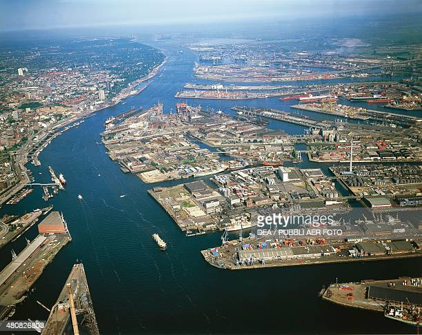 Aerial view of the port of Hamburg on river Elbe Germany