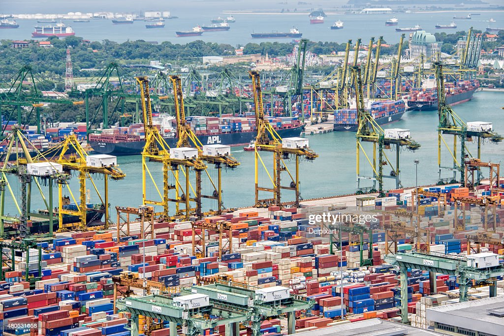 Aerial view of the port of Singapore : Bildbanksbilder