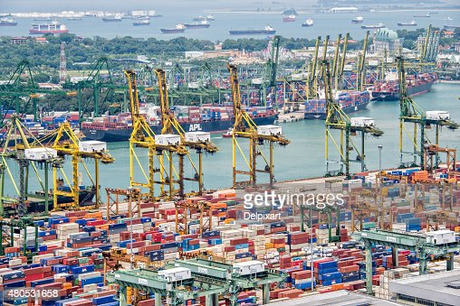 Aerial view of the port of Singapore : Stock Photo