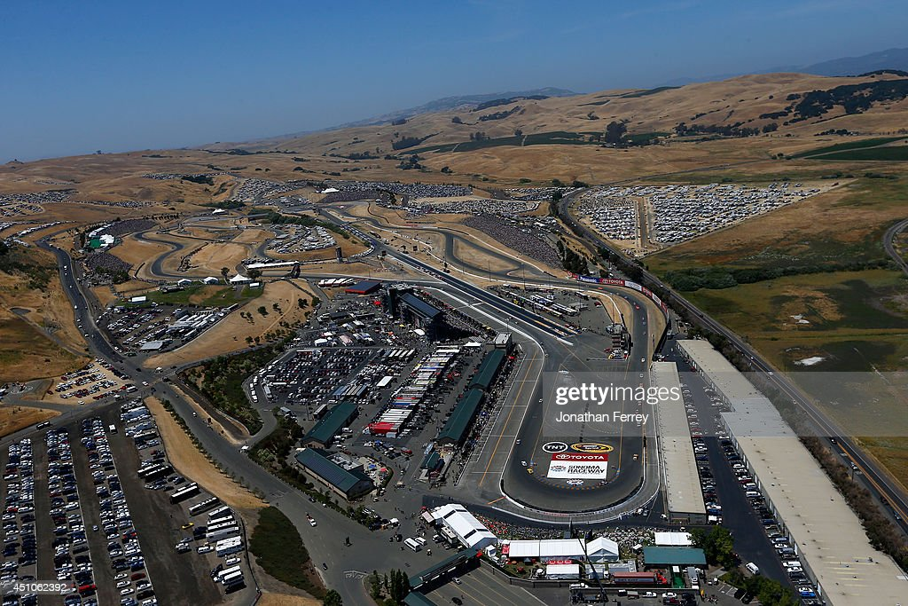 A aerial view of the racetrack during the NASCAR Sprint Cup Series Toyota/Save Mart 350 at Sonoma Raceway on June 22 2014 in Sonoma California