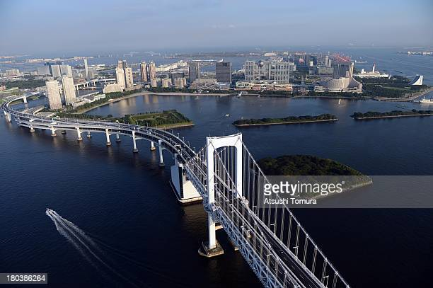 Aerial view of the Rainbow bridge Shiokaze park which will host the Beach volleyball events and Odaibakaihin Park which will host the cycling and...