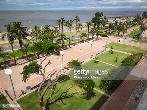 Aerial view of the rambla of montevideo on the Parque Rodó.