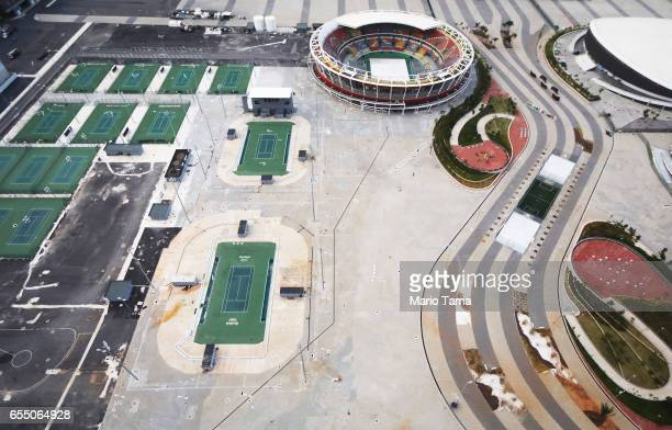Aerial view of the remains of the tennis facilities in the Olympic Park on March 17 2017 in Rio de Janeiro Brazil Seven months after the Rio hosted...