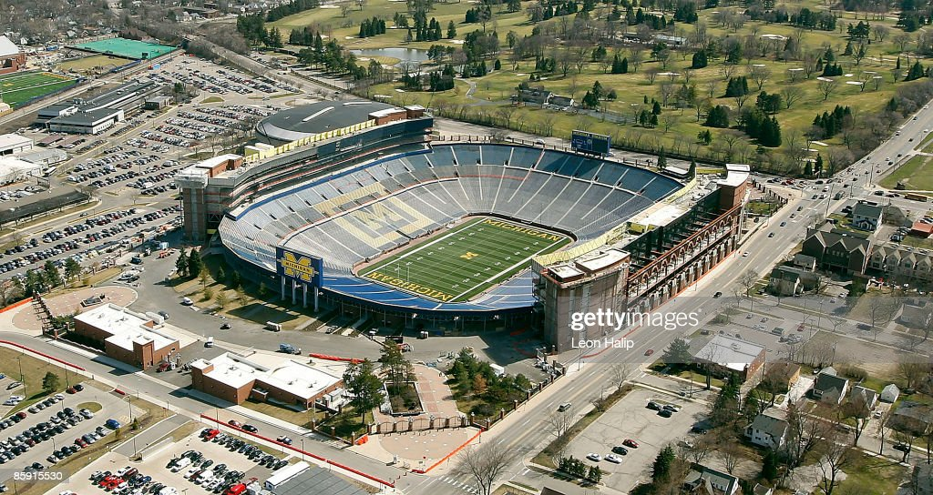 Aerial view of the renovations of Michigan Stadium on April 10 2009 in Ann Arbor Michigan