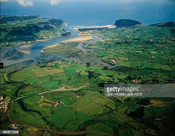 Aerial view of the Rio de Villaviciosa at Tazones Asturias Spain