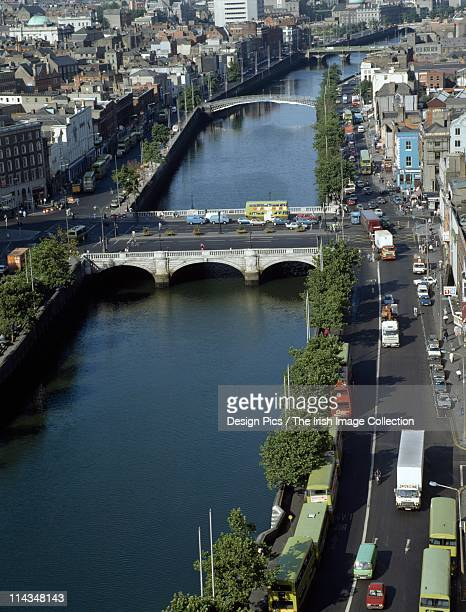 Aerial View Of The River Liffey, Dublin City, County Dublin, Ireland