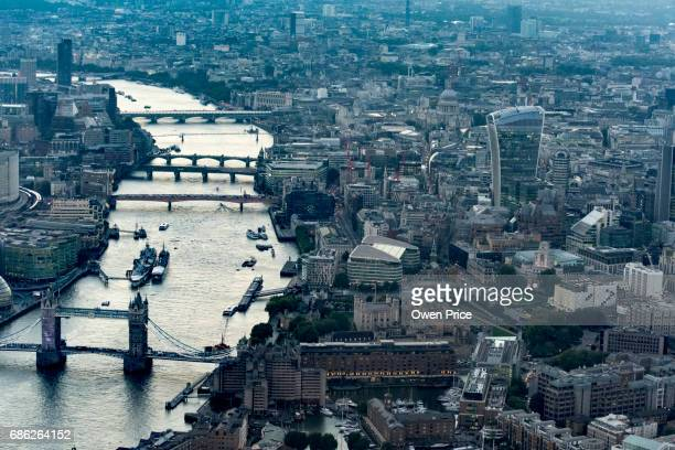 Aerial view of the River Thames London