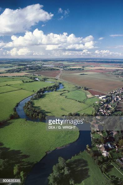 Aerial view of the River Thames near Benson Oxfordshire England United Kingdom