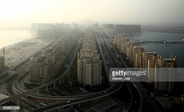A aerial view of the roads leading to the Palm Jumeirah on September 17 2014 in Dubai United Arab Emirates