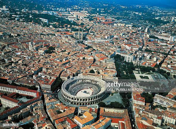Aerial view of the Roman amphitheatre Nimes LanguedocRoussillon France Roman civilisation 2nd1st century BC