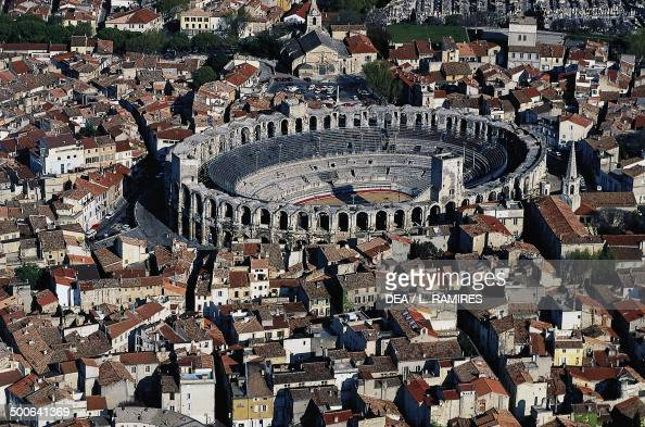 Aerial view of the Roman arena Arles ProvenceAlpesCote d'Azur France Roman civilisation 1st century