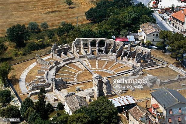 Aerial view of the Roman Theatre Ricina or Helvia Recina Villa Potenza Macerata Marche Italy Roman civilization 2nd century AD