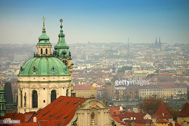 Aerial view of the Saint Nicholas Church in Prague