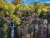 """Aerial view of the """"Salto Suizo"""" the highest waterfall of Paraguay near the Colonia Independencia and Vallarrica."""