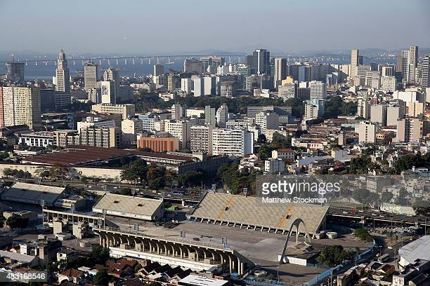 Aerial view of the Sambodromo with one year to go to the Rio 2016 Olympic Games on August 5 2015 in Rio de Janeiro Brazil